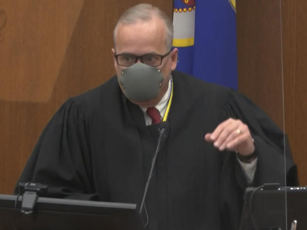 In this image from video, Hennepin County Judge Peter Cahill discusses motions before the court on Tuesday in the trial of former Minneapolis police officer Derek Chauvin at the Hennepin County Courthouse in Minneapolis.