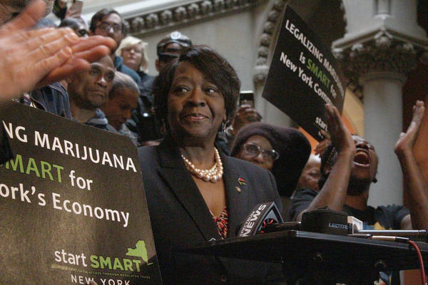 Assemblywoman Crystal Peoples-Stokes, a Democrat who represents Buffalo, speaks at a January 2020 rally for marijuana legalization at the New York state Capitol in Albany.