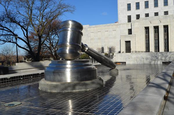 A gavel commissioned by the Ohio State Bar Association sits outside the Ohio Supreme Court building in downtown Columbus.