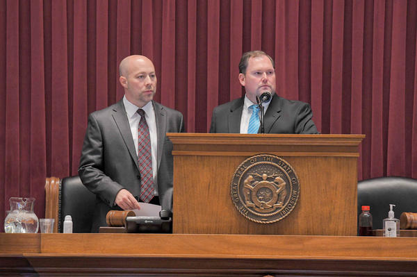 House Budget Committee Chairman Cody Smith, R-Carthage, left, watches floor debate on state spending with Speaker Rob Vescovo, R-Arnold.