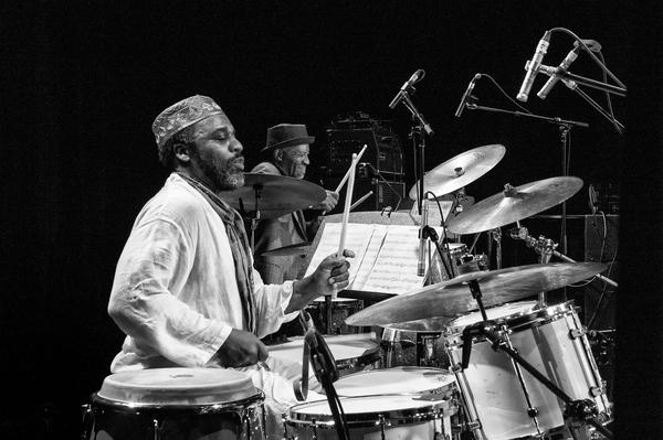 Both Pheeroan akLaff (left) and JT Lewis were on hand to perform the music of the Henry Threadgill Sextett, an ensemble which featured two drummers.