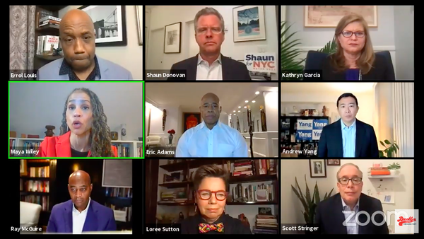 A recent gathering of New York City mayoral candidates on Zoom.