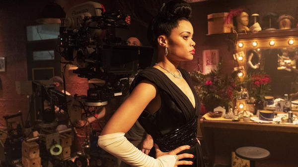 Grammy-nominated singer Andra Day, in a still from <em>The United States Vs. Billie Holiday.</em>