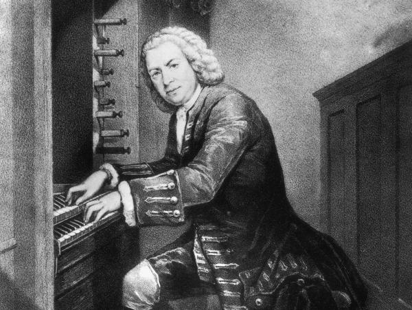 Johann Sebastian Bach playing the organ, not the lautenwerck, circa 1725. From a print in the British Museum.
