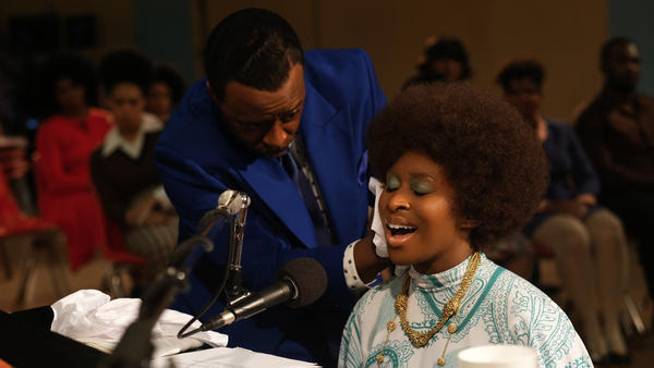 Courtney B. Vance, left, as C.L. Franklin, with Cynthia Erivo as Aretha Franklin, in a scene from the miniseries <em>Genius: Aretha </em>set at The New Temple Missionary Baptist Church.