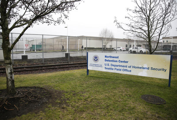 The U.S. Department of Homeland Security Northwest Detention Center is pictured in Tacoma, Wash., in 2017. It's now called the Northwest ICE Processing Center.
