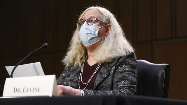 Dr. Rachel Levine during her confirmation hearing in February. In an NPR interview Thursday, Levine questions state measures limiting transgender rights.