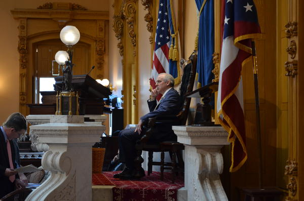 Senate President Matt Huffman (R-Lima) presides over session as Senators override Gov. Mike DeWine's veto of Senate Bill 22 on March 26, 2021.