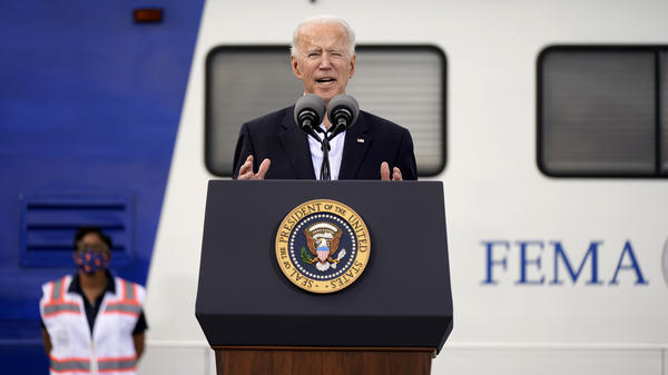 President Biden speaks at a FEMA COVID-19 mass vaccination site in Houston in February.
