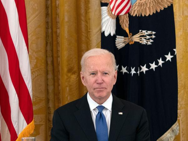 President Biden has allowed a ban on certain kinds of foreign work visas to expire. Above, Biden holds his first cabinet meeting in the East Room of the White House on April 1, 2021.