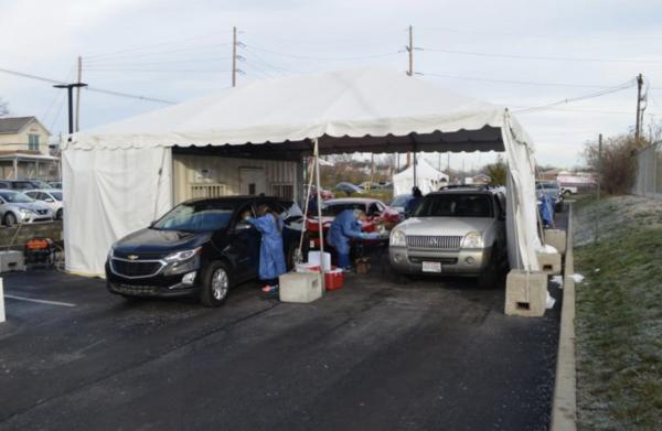 Drive through COVID testing in Columbus