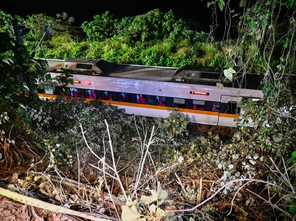 A section of a train that derailed inside a tunnel in the mountains of Hualien in eastern Taiwan on Friday.
