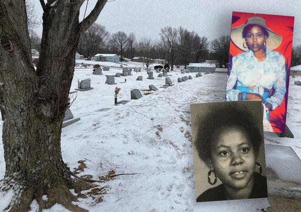 Photos of Rose Calvin, top, sometime in her 20s, and below, as a sophomore at Wyandotte County High School in 1973, transposed on her gravesite at  Brookings Cemetery in Raytown.