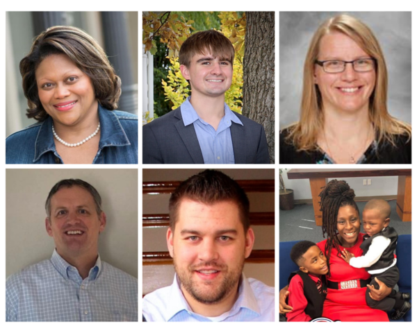 Candidates for Unit 5 School Board, in alphabetical order from top left: Kentrica Coleman, Gavin Cunningham, Janelle Czapar, Jeremy DeHaai, Stan Gozur, and Ericka Ralston.