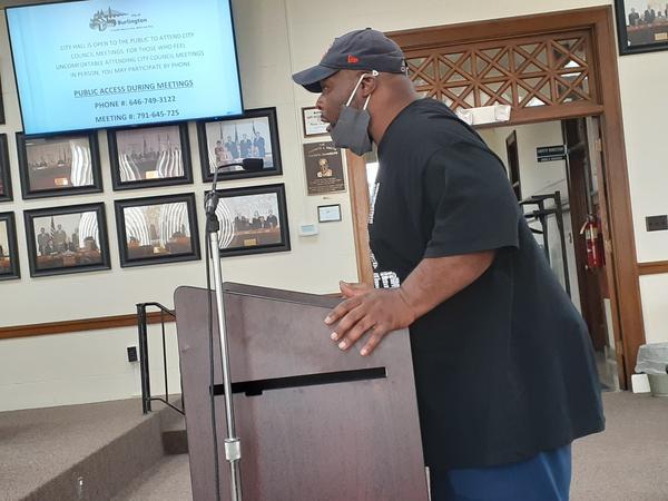 Pastor Rob Brown speaks to the Burlington City Council 04/05/21