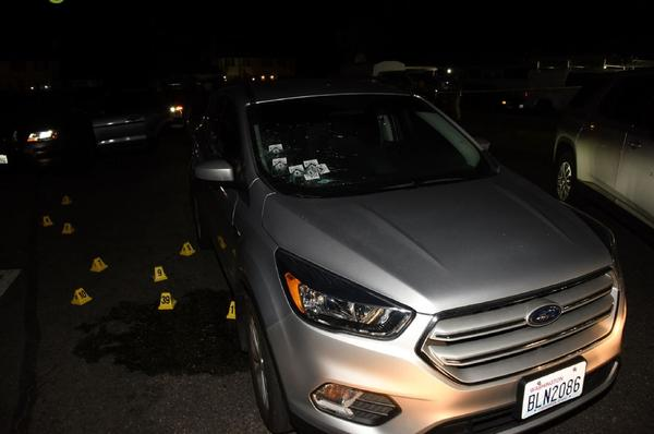 Officer James Oleole shot rounds through the passenger side windshield of an unmarked police vehicle during the confrontation with Michael Reinoehl near Olympia, Washington on Sept. 3, 2020.