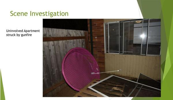 A police presentation released Tuesday, April 6, 2021 shows where law enforcement bullets struck a neighboring apartment as officers shot and killed Michael Reinoehl on Sept. 3, 2020 in Lacey, Washington.