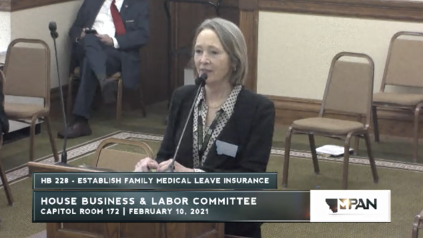 Montana Democratic Rep. Moffie Funk introduces House Bill 228 to the House Business and Labor Committee on Feb. 10, 2021.