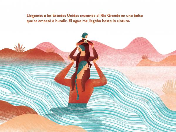 "A Spanish version of <em>Hear My Voice/Escucha Mi Voz</em><strong> </strong>reads, ""We entered the United States by crossing the Rio Grande on a raft that started to sink. I got wet up to my waist."" (Excerpted from <em>Hear My Voice/Escucha mi voz</em>. Foreword by Michael Garcia Bochenek; Compiled by Warren Binford; Workman Publishing. Copyright 2021.)"