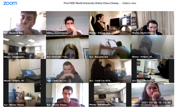 In this screenshot, chess players from the University of Missouri and St. Louis University competed virtually during a team competition as part of the International Chess Federation's inaugural World University Online Championships. The University of Missouri Chess Team won the world championship in the Blitz Cup team competition.