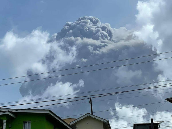 A photo of La Soufrière erupting Friday in St. Vincent. The blast could be sending ash as far as Jamaica and South America.