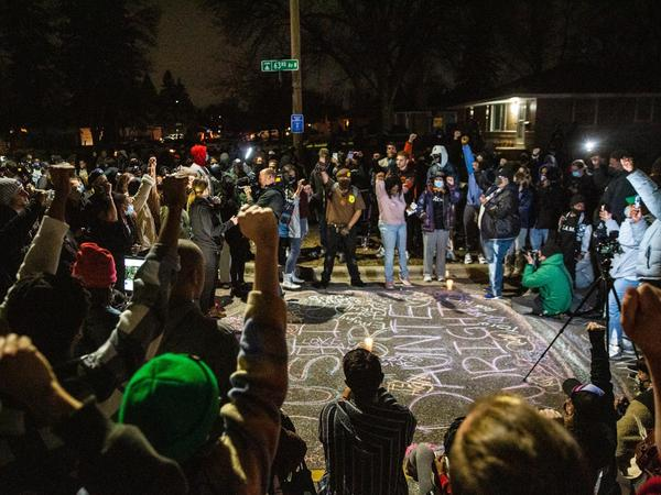 Protests lasted for hours in Brooklyn Center, Minn., where 20-year-old Black man Daunte Wright died after being shot by police Sunday.