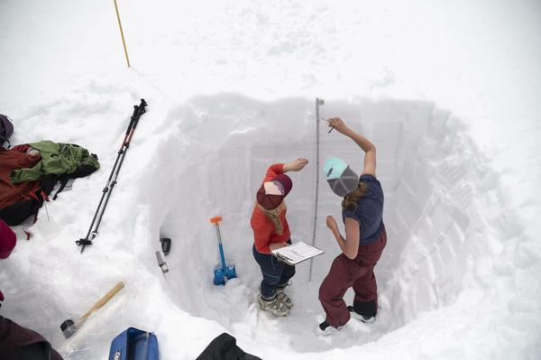 Researchers with the Long Term Ecological Research station at the Universit of Colorado's Mountain Research Station on the Niwot Ridge of Colorado's Indian Peak work on the 2019 snow survey in the Green Lakes Valley, which includes the Arikaree Glacier and provides a substantial portion of Boulder, Colorado's water supply. The LTER runs a snow survey in the valley every year.