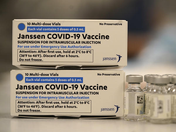 The U.S. Food and Drug Administration and the Centers for Disease Control and Prevention have recommended a pause in the use of the Johnson & Johnson COVID-19 vaccine, shown here in a hospital in Denver.