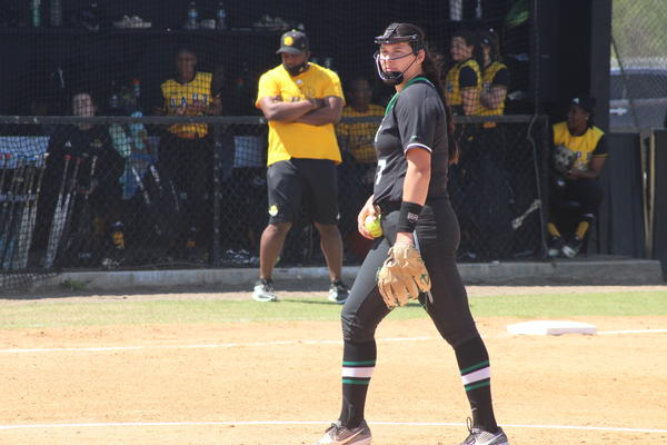 Hope Trautwein is the first pitcher in NCAA Division I softball history to strike out every batter in a seven-inning perfect game, according to the NCAA.