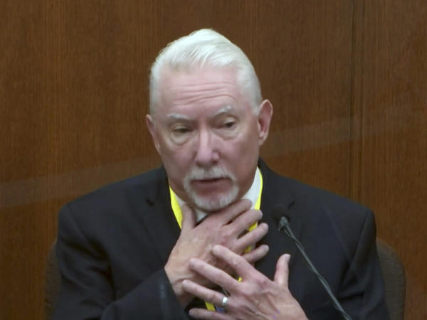 Barry Brodd, a use-of-force expert, testifies Tuesday in former Minneapolis police officer Derek Chauvin's trial. Brodd said the position in which George Floyd was restrained — facedown on the ground — was safest for officers and the suspect.