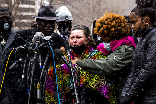 Katie Wright breaks into tears Tuesday in Minneapolis recounting her last conversation with her son, Daunte Wright. She said he called her for advice after police pulled him over. An officer shot him shortly afterward.