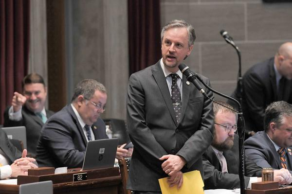 Rep. J Eggleston, R-Maysville, shown here debating on the House floor earlier this month, sponsored legislation to forgive the federal portion of unemployment benefits the state mistakenly paid out last year. The bill is now under consideration in the senate.