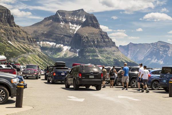 Parking at Glacier National Park's Logan Pass.