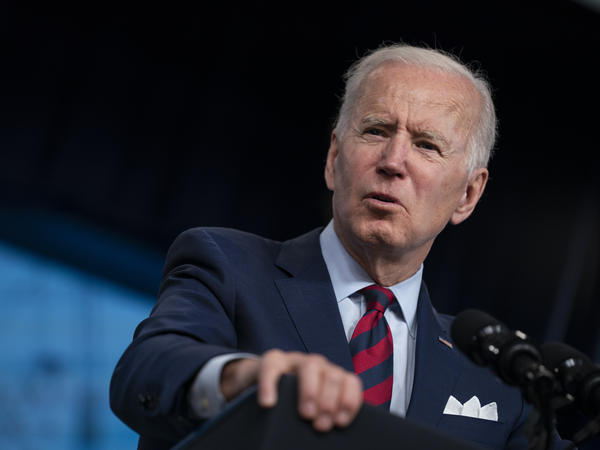 President Biden promotes his American Jobs Plan during an appearance in the South Court Auditorium on the White House campus on April 7. The sheer scale of his early agenda has drawn comparisons to the achievements of FDR and LBJ.