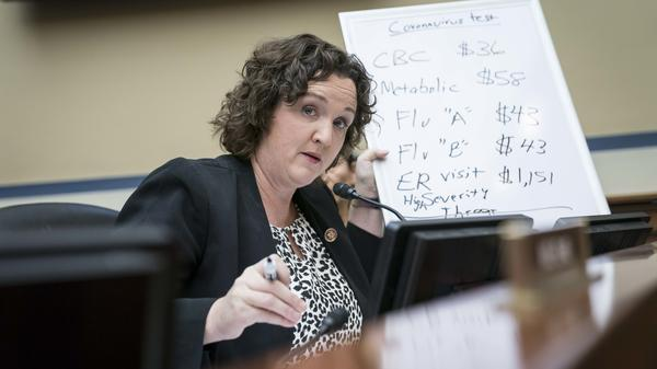 Rep. Katie Porter, a Democrat from California, during a House Oversight Committee hearing on Capitol Hill in March 2020.