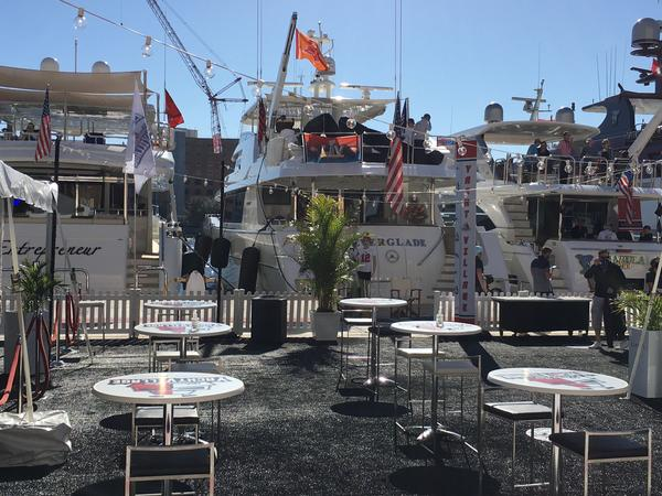 """Boats line """"Yacht Village"""" outside the Tampa Convention Center for Super Bowl LV."""