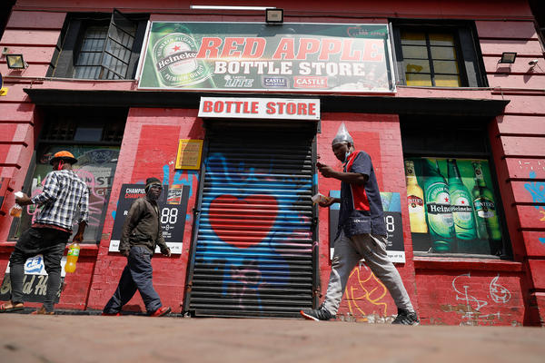 A liquor store in Newtown, Johannesburg, shuttered during the country's ban on alcohol. The photo is from Dec. 29, 2020.