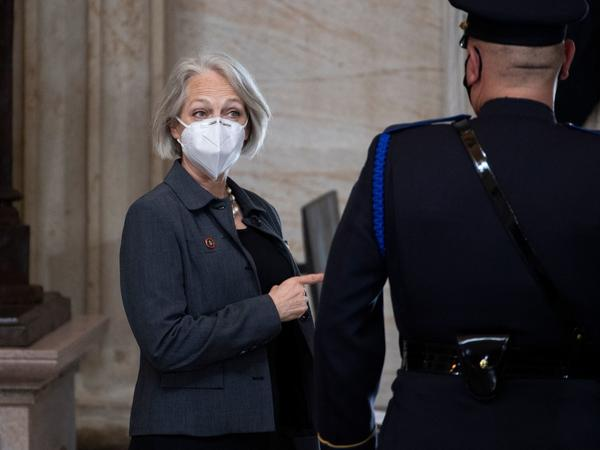 """Senate Sergeant-at-Arms Karen Gibson attends the service for slain U.S. Capitol Officer William """"Billy"""" Evans, as his remains lie in honor in the Capitol Rotunda on Tuesday."""