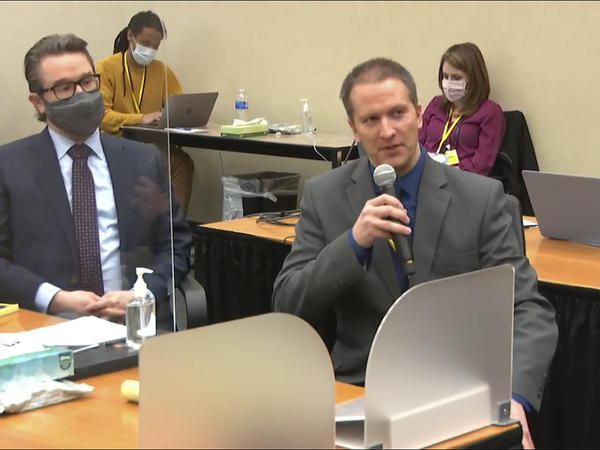 Former Minneapolis police officer Derek Chauvin tells the judge on Thursday he will not testify on his own behalf in his trial over the death of George Floyd. His attorney, Eric Nelson, is seen at left.