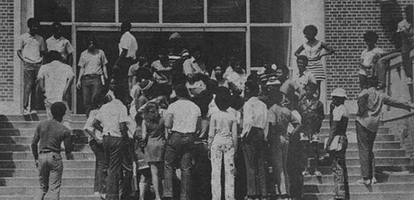 Black students assemble in front of Tigert Hall on the morning of April 15, 1971, in preparation for their confrontation with Stephen O'Connell.