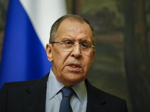 Russian Foreign Minister Sergey Lavrov addresses the media Friday in Moscow. Lavrov announced that Russia will expel 10 U.S. diplomats. The move comes after the Biden administration ordered 10 Russian diplomats to leave the U.S. a day earlier.