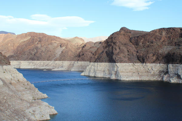 Lake Mead's bathtub ring rises above the water in Feb. 2018. The reservoir is currently projected to drop more than 15 feet in the next year.