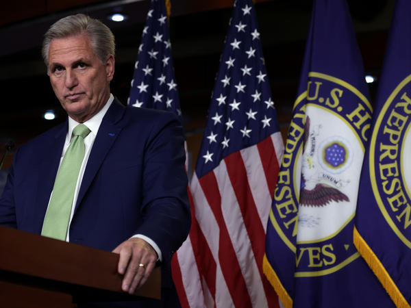 House Minority Leader Kevin McCarthy, here during a news conference Thursday, brought a motion to censure Rep. Maxine Waters, D-Calif., over comments she made at a protest last weekend.