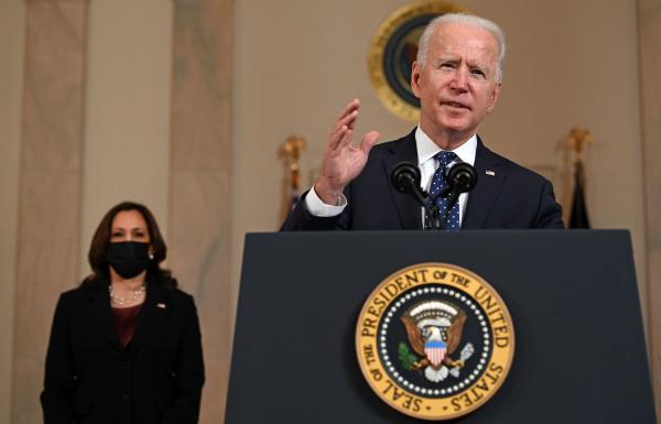 President Biden delivers remarks Tuesday on the guilty verdict against former police officer Derek Chauvin, as Vice President Harris looks on.