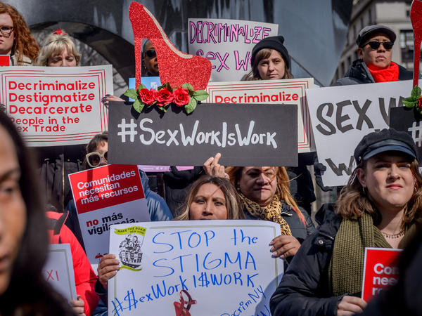 Protesters gather in New York City in February 2019 to advocate for the decriminalization of sex trades in the city and state. The Manhattan District Attorney's Office announced more than two years later it would stop prosecuting prostitution and seek the dismissal of hundreds of related cases dating back decades.
