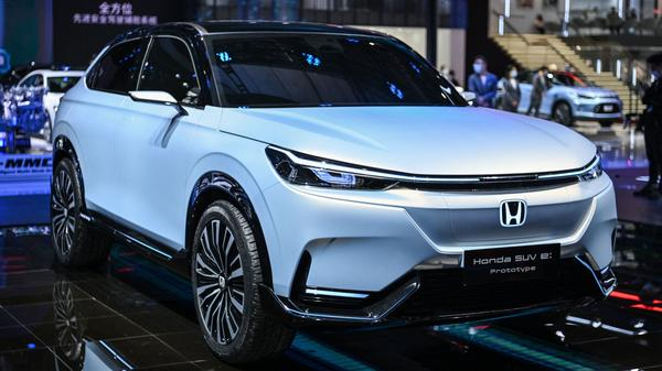 A Honda SUV E prototype is displayed during the 19th Shanghai International Automobile Industry Exhibition in Shanghai on April 20. Honda says battery-powered SUVs will be a key part of its plan to sell exclusively zero-emissions vehicles by 2040.