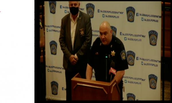 Galesburg Police Chief Russ Idle speaks at a press conference announcing the creation of a new violent crimes task force, April 23, 2021.