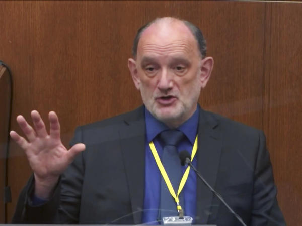 A video still shows Dr. David Fowler, the retired chief medical examiner for the state of Maryland, testifying in the trial of former Minneapolis police Officer Derek Chauvin on April 14 in Minneapolis. Maryland officials say there will be an independent review of cases of deaths in police custody handled by the medical examiner's office under his leadership.
