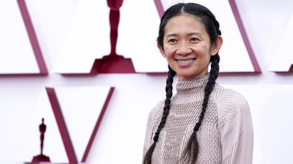 Director Chloé Zhao at the 2021 Oscars. She was the first woman to receive four Oscar nominations in a single year.