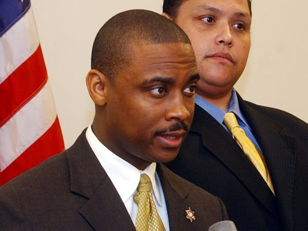 Clayton County, Ga., Sheriff Victor Hill is accused of violating the civil rights of detainees by ordering that they be unnecessarily strapped into a restraint chair and left there for hours, according to a federal indictment. Hill is seen here in 2005.